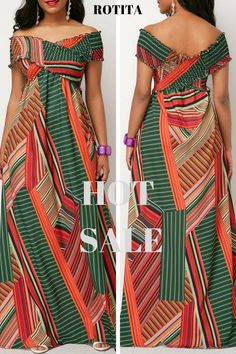 Printed Off the Shoulder Shirred Detail Dress.Printed dress,you deserve it,just shop now. African Maxi Dresses, Latest African Fashion Dresses, African Dresses For Women, African Print Fashion, Africa Fashion, African Attire, African Wear, Ankara Fashion, African Fashion Designers