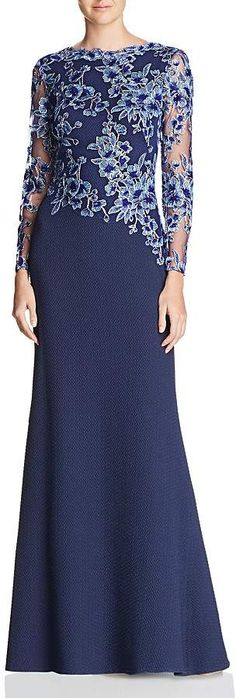 Tadashi Shoji Embroidered-Bodice Crepe Gown We share the most beautiful and new dress patterns for y Mother Of The Bride Dresses Long, Mother Of Bride Outfits, Mothers Dresses, Elegant Dresses, Beautiful Dresses, Casual Dresses, Fashion Dresses, Formal Dresses, Dresses Dresses