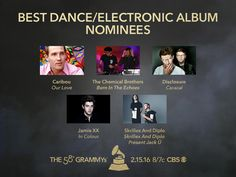 Congrats #GRAMMYs Best Dance/Electronic Album nominees! Caribou, The Chemical Brothers, Disclosure, Jamie XX, Skrillex And Diplo