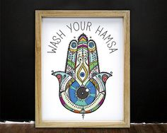 Bathroom Art Wash Your Hands Yoga Hamsa Decor Yoga Art Dream