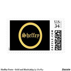 Sheffey Fonts - Elegant Gold and Black 9634 Postage