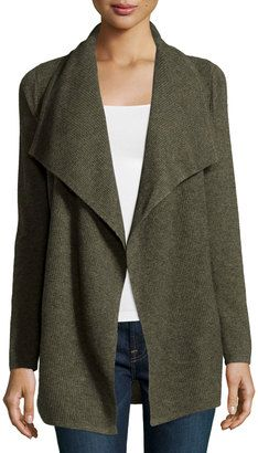 Design History Cashmere Thermal-Knit Cozy Cardigan, Army Green Heather - Shop for women's Cardigan