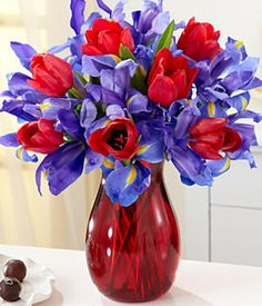 beautiful arrangement for a red hat party