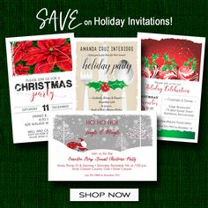 171 best christmas and holiday invitations images on pinterest in
