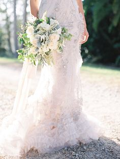 Gorgeous wedding dress and bouquet