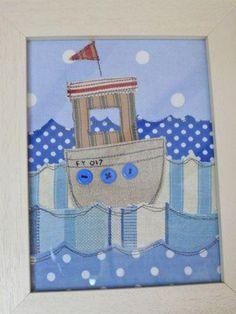 Boat, fabric postcard?