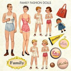 family fashion paper dolls image   For symmetry, I fashioned the Brother card the same way, and trimmed ...
