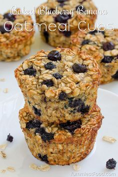 Baked Blueberry Banana Oatmeal Cups Recipe