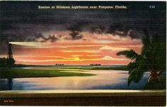 Sunrise at Hillsboro Lighthouse near Pompano Florida Vintage Postcard. $5