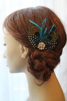 Fascinator de la pluma de pavo real por Madelinelittleboutiq