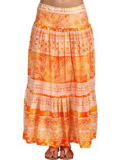 Jones New York Sport Printed Border Cotton Lawn Pleated Maxi Skirt at Zappos.com - Like the drop waist, shorter version perhaps?