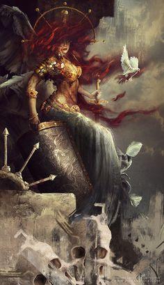 Artist: Bastien Lecouffe Deharme aka Bastien - Title: angel - Card: Citadel Watcher Trudr