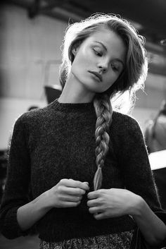 Classic side braid + short sweater; chic style inspiration