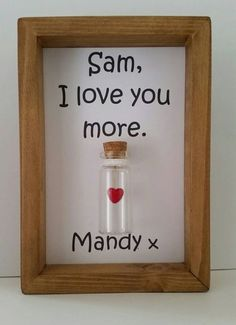 I love you more. Simple yet says it all. A romantic, personalised gift for boyfriends. Red heart charm enclosed inside a miniature glass bottle.  HOW TO ORDER. Add item to cart and at checkout you have the option to add a message to seller. Let us know there what you would like it personalised with. You can just add names or you can have any wording you would like added.   THEN ALL YOU NEED TO DO IS. Watch out for the Etsy message that you will normally receive within 24 hours. This will be…