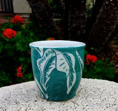 TEPCO Green Palm double egg cup or juice glass