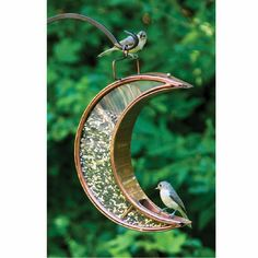 Copper and Bronze Crescent Moon Bird Feeder  by Brookstone