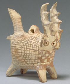 Terracotta zoomorphic askos (vessel) with antlers  Period: Middle Cypriot III Date: ca. 1725–1600 B.C. Culture: Cypriot Medium: Terracotta Dimensions: H. 5 3/4 in. (14.6 cm)