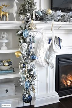Christmas Home Tour - Gorgeous living room dressed in blues, gold, silver and flocked greenery is sophisticated,elegant and has an elevated look and feel. Blue Christmas Tree Decorations, Gold Christmas Tree, Christmas Mantels, Elegant Christmas, Christmas Home, Holiday Decor, Victorian Christmas, Vintage Christmas, Christmas Villages
