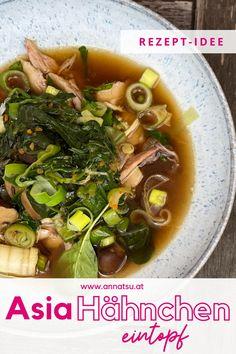 Heute hab ich eines meiner liebsten asiatischen Rezepte für dich. Mein Asia Hähnchen Eintopf mit Spinat ist super lecker und geht auch extrem einfach. #asiahähnchen #asiahähnchenpfanne #asiahuhn #asiatischerezepte #asiatischegerichte Foodblogger, Super, Tricks, Ramen, Japanese, Ethnic Recipes, Fitness, Healthy Life, Asian Recipes
