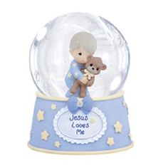 Precious Moments ''Jesus Loves Me'' Boy Holding Teddy Bear Musical Waterball, Multicolor Waterpolo, Musical Snow Globes, Water Globes, Precious Moments Figurines, Love My Boys, Jesus Loves Me, Baby Milestones, Young Boys, Gifts For Teens