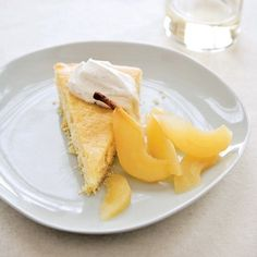 Buttermilk Cake with Riesling-Poached Pears | Pears are a juicy and beautiful fruit that require little effort. Enjoy serving the fall fruit raw or poaching them in wine, such as the Riesling.
