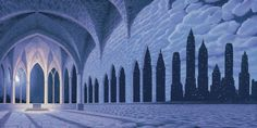 Cathedral of Commerce, by Rob Gonsalves, Fine Art Editions on Canvas featured at Marcus Ashley Gallery.