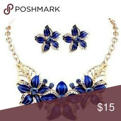 Luxury Gardenia Rhinestone Chain Blue & Gold Clavicle Chain Jewelry Set. NWT. Make a Nice Mother's Day Gift. Jewelry Necklaces