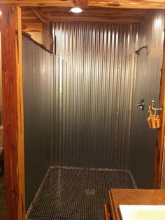 corrugated sheet metal bathroom barn tin shower our home lots of stuff we have completed at our home tin shower barn tin and barn home decor stores las vegas Barn Bathroom, Rustic Bathrooms, Bathroom Ideas, Blue Bathrooms, Western Bathrooms, Bathroom Mirrors, Bathroom Designs, Shower Ideas, Ideas Cabaña