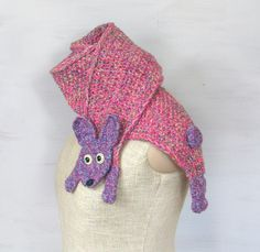 Young hare rabbit bunny yarn scarf animal scarf pink by Florfanka