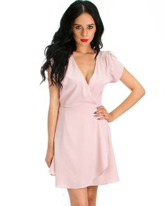 That's a Wrap! Tulip Sleeve Wrap Dress In Mauve