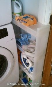 A perfect storage idea for small tight spaces for the laundrey room