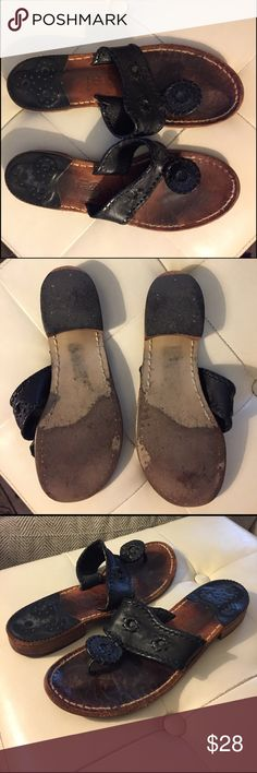 Black Jack Rogers Sandals Worn but broken in black Jack Rogers sandals. If I lived in a warm climate I would keep them but I don't, so I am selling. Jack Rogers Shoes Sandals