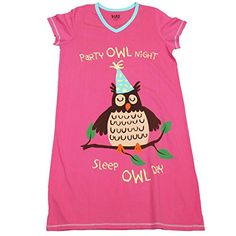 4a8e0d4f05 Lazy One Women s Party Owl Night V-Neck Nightshirt Owl Parties