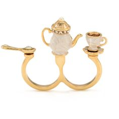 English Tea Set Duo Ring (915 MXN) ❤ liked on Polyvore featuring jewelry, rings, accessories, aneis, women, betsey johnson rings, betsey johnson jewelry, betsey johnson jewellery, betsey johnson and polish jewelry