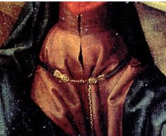 Memling lamentation 1475-80  screen shot detail of demicient belt.  The discs have what may well be roses, but it's not possible to tell much about the decoration of the sockets.