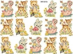 Vintage Asst Nursery Animals Shabby Decals Smaller Size - perfect miniature decals for dollhouse nursery furniture