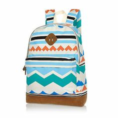 Ecru aztec print backpack £25.00