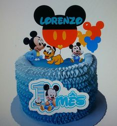 Baby Boy Birthday Cake, Mickey Mouse First Birthday, Mickey Mouse Cake, Bolo Mickey Baby, Mouse Parties, Christening, First Birthdays, Icing, Desserts