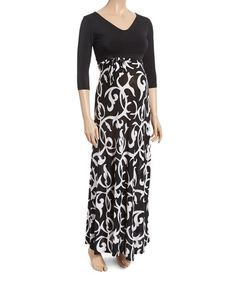 Another great find on Black & White Filigree V-Neck Maternity Maxi Dress Cute Maternity Dresses, Maternity Maxi, Filigree, Cold Shoulder Dress, V Neck, Black And White, Bump, Nursing, Spice