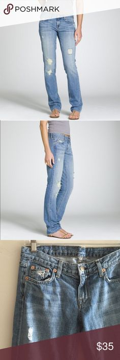 "J. Crew Vintage Matchstick Jeans Vintage Matchstick denim jeans in busted stone wash.  Authentically aged with destroyed holes and distressed look.  Traditional 5 pocket styling.  Size is 27S.  Inseam is 29"" and rise is 8"".  In excellent, gently used condition. J. Crew Jeans"