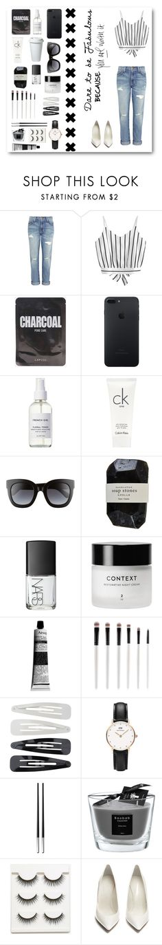 """""""Dare to be Fabulous"""" by at-39thst-fashion ❤ liked on Polyvore featuring Current/Elliott, French Girl, Calvin Klein, Gucci, Cassia, NARS Cosmetics, Context, Aesop, Forever 21 and Daniel Wellington"""
