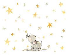 Nursery Art Wishing Elephant Art Print by trafalgarssquare Mais Elephant Love, Elephant Art, Elephant Nursery, Nursery Art, Animal Drawings, Cute Drawings, Baby Motiv, Art Mignon, Baby Art