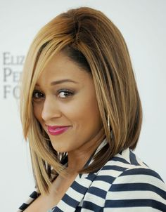 Summer Hair Award for Best Lob, A.K.A. Long Bob Hairstyle: Tia Mowry-Hardrict It's all about the angles, people. Isn't Tia Mowry-Hardrict's graduated, long bob so flattering? The look is modern, sexy, and an all-around knockout.