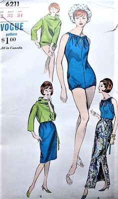 1960s FAB Beachwear Pattern VOGUE 6211 Swimsuit Bathing Suit Cowl Neck Top or Beach CoverUp, Skirt in Short or Maxi Length Perfect WeekendWear Bust 32 Vintage Sewing Pattern