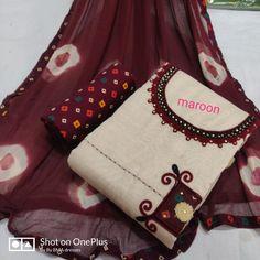 Khadi cotton: free COD Catalog Name:*Aishani Refined Salwar Suits & Dress Materials* Top Fabric: Khadi Cott. Sleeves Designs For Dresses, Dress Neck Designs, Tunic Designs, Kurta Designs Women, Indian Designer Outfits, Indian Outfits, Shalwar Kameez, Salwar Suits, Churidar