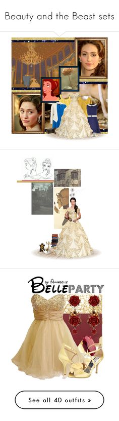 """""""Beauty and the Beast sets"""" by annabelle-95 ❤ liked on Polyvore featuring River Island, Toast, Dorothy Perkins, Apricot, Prouna, art, Judy Geib, Foley + Corinna, Dolce&Gabbana and Monsoon"""
