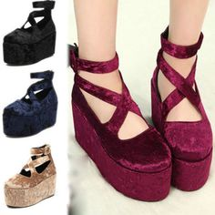 Hot Stylish Retro Lace Up Punk Goth High Platform Flat Creeper Thick Shoes only $30.00   ebay