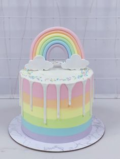 Pastel Rainbow Drip Cake with Rainbow . Pastel Rainbow Drip Cake with Rainbow … Rainbow First Birthday, Baby Birthday Cakes, Birthday Cake Designs, Birthday Drip Cake, Birthday Ideas, 5th Birthday Cake, Rainbow Parties, Drip Cakes, Savoury Cake