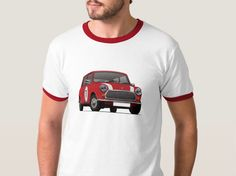 Great gift idea for vintage British car fans and owners! Vintage Austin Mini / Morris Mini T-shirts in many color options and stripe combinations. Nissan March, Mini Morris, Classic Mini, Prints, Mens Tops, T Shirt, Find Image, Badge, Stripes