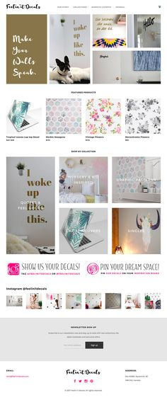 Angelisa requested an online shop where her creations could be displayed as both a graphic and in situ so the shopper could explore and select their favorite designs and become inspired to add their personality to their space.